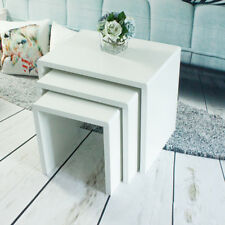 Nest of 3 Tables Units Wood Side/end Coffee Table Set White Living Room Modern