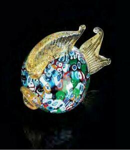Vetro di Murano Scultura Pesce con Murrine Made in Italy Pezzo unico
