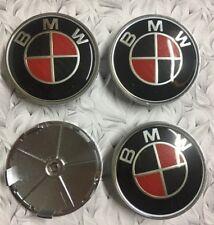 4x BMW Red Alloy Wheel Centre Caps 68mm Decal Emblem Badge 3D Logo High Quality