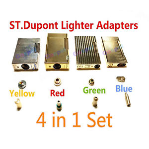 4 in 1 set Gas Refill Adapters For S T Dupont Lighter Yellow/Red/Green/blue Caps