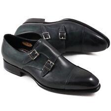 NIB $1350 SANTONI Goodyear-Welt Green Double-Buckle Monk Strap US 10 Shoes