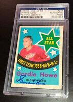 GORDIE HOWE SIGNED 1969 O-PEE-CHEE DETROIT RED WINGS CARD #215 PSA/DNA Auto