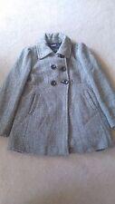 Womens Black White Pattern Wool Guess Dress Jacket Trench Coat Size XL