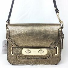 COACH 35995 SWAGGER SMALL SHOULDER BAG IN METALLIC PEBBLE LEATHER NWT $350