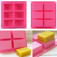 6-Cavity Rectangle Soap Mold Silicone Mould Tray For Homemade DIY Making LA2