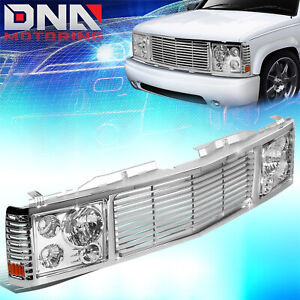 FOR 1988-1999 CHEVY GMC C/K PICKUP TAHOE YUKON FRONT GRILLE+HEADLIGHT LAMP SET
