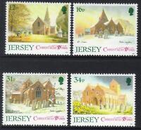 JERSEY MNH UMM STAMP SET 1988 SG 458-461 CHRISTMAS PARISH CHURCHES