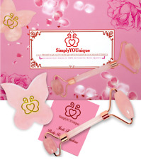 Natural 3 in 1 Rose Quartz Roller + Crystal Gua Sha Facial Spa Set + Free Ship