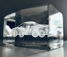 """Gorgeous 3D Solid Crystal Clear Glass Laser Art NASCAR Car #24 3"""" X 2"""" 1 Pound"""