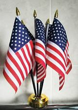 USA TABLE FLAG SET 5 flags plus GOLDEN BASE UNITED STATES OF AMERICA AMERICAN