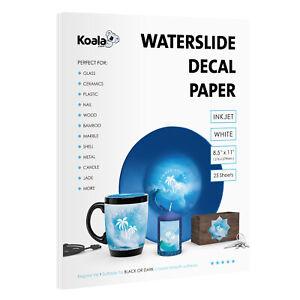 Koala 25 Sheets 8.5x11 WHITE INKJET Waterslide Decal Transfer Paper Custom DIY