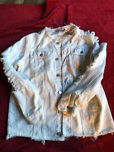 Liquor N Poker Women's Basic Denim White Jacket Vintage Look Coat NWT Size 12