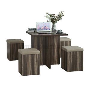 US 5Pcs Dining Table Set+4 Stools Storage Ottoman Kitchen Breakfast Furniture
