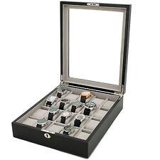 20 Watch Wood Box Display Case Black Finish Lock Key Tsnp20Blk-KEY-D  SALE