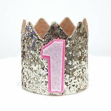 Gold Glitter Sparkles Pink 1st Birthday Girl Hat Party Crown Toddler 1 Birthday