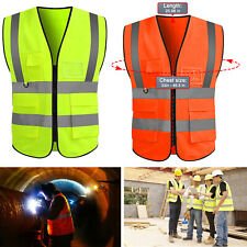 Neon Safety Vest With High Visibility Reflective Stripes With5 Pockets 2 Colors