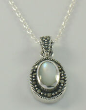 Marcasite Sterling Silver Oval Bezel Solitaire Mother of Pearl Pendant w/ Chain