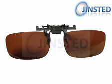 Large Brown Polarised Polarized Flip Flip-Up Clip On Clip-On Sunglasses ACP002