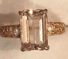 3.5CTNatural Emerald Cut Morganite & Real  Diamonds 14K Rose Gold OverSilverRing