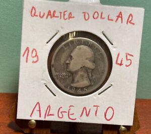 KM # 164 - 25 CENTESIMI-Washington QUARTER DOLLAR - 1/4 - USA 1945  Argento