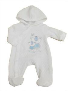 BNWT Tiny Premature Preemie Baby boys white hooded pram suit  3-5lb & 5-8lb NB