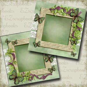 BEAUTIFUL BUTTERFLIES - 2 Premade Scrapbook Pages - EZ Layout 3888