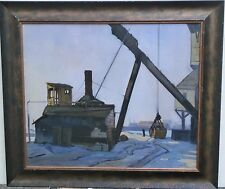 White Sand & Industry-Port on Sunny Day Oil Painting-Harold Drake Tannar- NJ