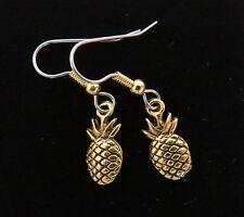 Pineapple Earrings 24 Karat Gold Plate Welcome Friendship Hospitality Hawaii