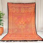 Moroccan area rug Vintage berber rug Boujaad rug 9'×6' Moroccan orange carpet
