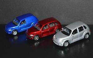 3 Cars Maisto 1/39 scale Chryslers Panel Cruiser, PT Cruiser, GT Cruiser
