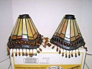 """2 Vintage Stained Glass Lead Tiffany Stlye Light Lamp Shades 5""""x7"""""""