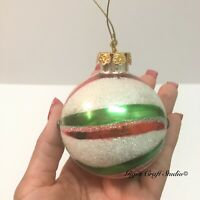 1pc Vintage Glass Christmas Tree ball Ornament Red, Green & White