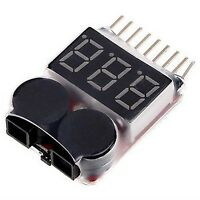 AOK 1S-8S Li-po Battery Voltage Tester Low Voltage Buzzer Alarm Indicator