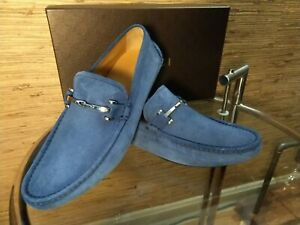 Gucci Baffin Blue Suede Driver Moc Horse Bit Loafer NEW $600 ITALY Men's Sz 8 US