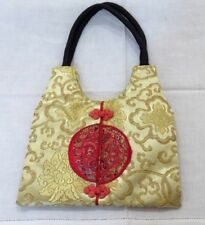 VINTAGE CHINESE RED AND GOLD COLOR SILK PURSE HANDBAG