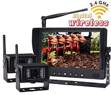 "9"" DIGITAL WIRELESS SPLIT MONITOR REAR VIEW BACKUP CAMERA SYSTEM FOR RV TRAILER"