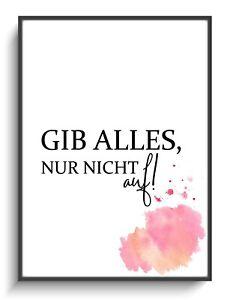 Wand Deko Bild A4 Gibt Alles! 3 Poster Modern Zimmer Spruch Minimal Kunstdruck