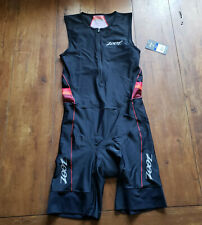 ZOOT Mens Large Tri Suit Sleeveless Black Red Triathlon Swim Cycling Run L