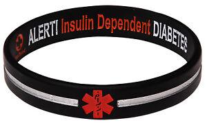 Reversible Designer Black Stripe Diabetes Insulin Dependent Siicone Wristband -