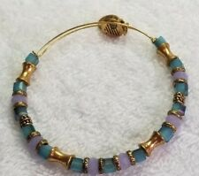 ALEX AND ANI  Lavender and Jade Green  Beads, Gold expandable Bangle Bracelet