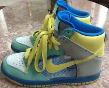 Nike Women SB Dunk Clear Green Gray Yellow Mid High 342257-131 Suede SZ 6.5 EUC
