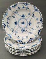 6 Royal Copenhagen Dinner Plates 1084 Blue Fluted Full Lace 1st quality