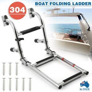 Stainless Marine Boat Folding Pontoon Transom Boarding Ladder 3 Step Narrow Type