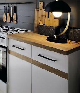 80cm White Low Gloss & Oak Kitchen Cabinet Unit Individual Base Cupboard Junona