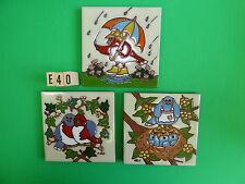 "Ceramic Art Tile 6""x6"" 3pc Happy Bird set trivet kitchen home garden NEW E40"