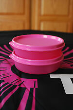 TUPPERWARE LITTLE WONDERS BOWL PINK SET OF 2 NEW SNACK CUPS LUNCH BOX READY