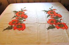 Vintage Signed SHAHEEN Orange Poppies Double Linen Fabric Panels