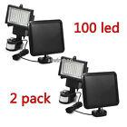 2X60 100 LED Garden Outdoor Solar Powerd Motion Sensor Light Security Flood Lamp