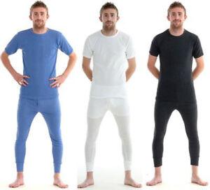 Mens Thermal Long Johns Short Sleeves Shirt Top Underwear Bottoms Pants Skiwear
