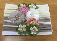 Baby Girl Floral Soft Headbands Set - 6 Pc Set Newborn New